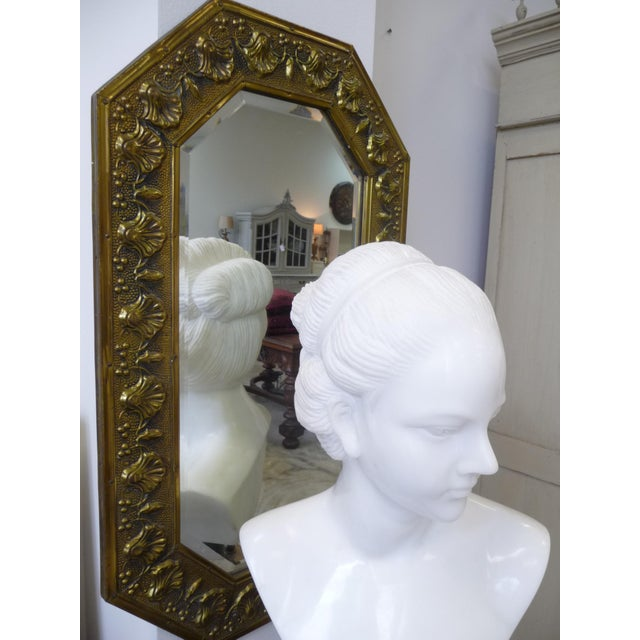 Antique Repousse Shell Brass Beveled Wall Mirror For Sale - Image 5 of 8