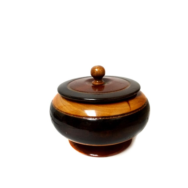 """Handmade wood Sugar Bowl with Lid Item Details: -Hand Carved -It is (Approximately): 5"""" H x 4.75"""" W x 4.75"""" L - in..."""