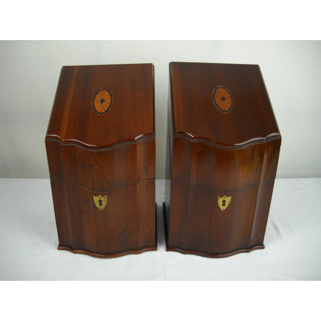 Georgian-Style Inlaid Knife Boxes - A Pair - Image 2 of 10