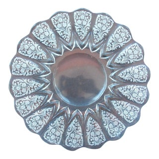 Vintage Baroque Glass Serving Platter For Sale