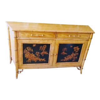 Century Vintage Fretwork Chinoiserie Style Credenza Buffet Sideboard
