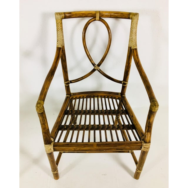 Mid-Century Modern 1980s Mid-Century Modern McGuire Rattan Dining Arm Chairs - Set of 6 For Sale - Image 3 of 13