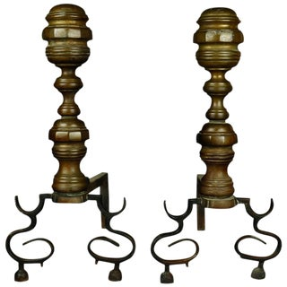 1850 American Federal Philadelphia Style Brass Beehive Fireplace Andirons - a Pair For Sale