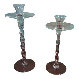 Late 20th Century Transitional Glass Candlesticks - a Pair For Sale