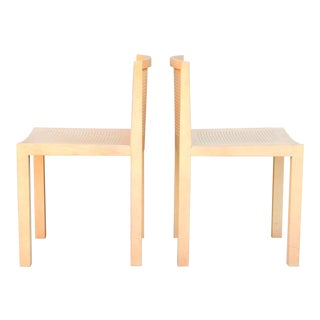 Pair of Minimalistic Beechwood Side Chairs For Sale