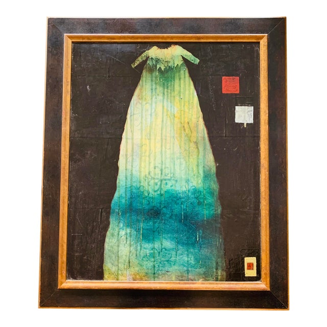 "Original Listed Contemporary Artist Patricia Jo Peacock ""Dress of Tears"" Encaustic & Paper Painting For Sale"
