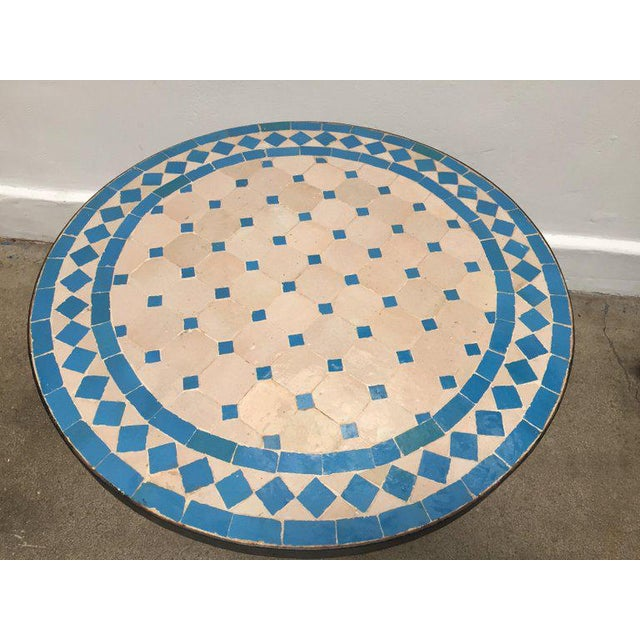 Moroccan Mosaic Outdoor Turquoise Tile Side Table on Low Iron Base For Sale - Image 4 of 9