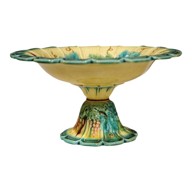 19th Century French Hand Painted Barbotine Fruit Bowl For Sale