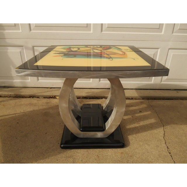 Artist Inspired Aluminum and Acrylic End Table - Image 2 of 5