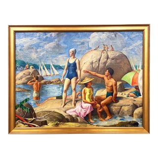 "1940s ""Cape Ann Wingaersheek Beach"" Figurative Beach Scene Oil Painting by Allyn Cox For Sale"