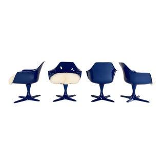 Burke Tulip Armchairs With Brazilian Sheepskin Cushions, Set of 4 For Sale