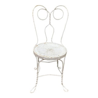 Vintage Garden Chair, Painted Wrought Iron (Ice Cream Parlor Style) For Sale