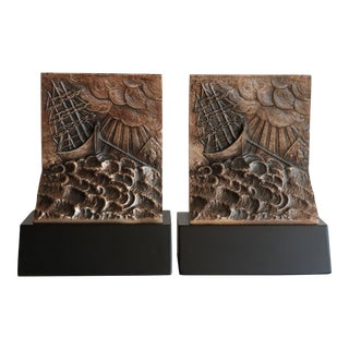 Ship in a Storm Brutalist Style Bookends For Sale