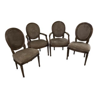Barbara Barry Style Henredon Cane Fauteuils Dining Chair Set 4 For Sale