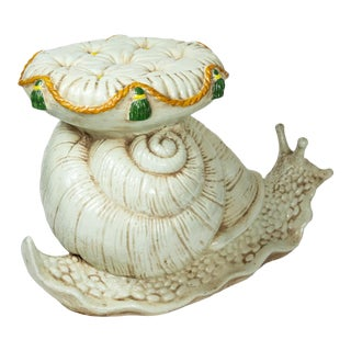 Vintage Italian Snail With Cushion Side Table For Sale