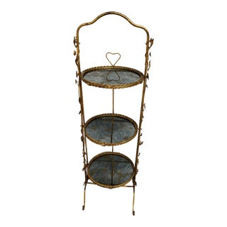 Italian Folding Dessert Stand Gilded 3-Mirrored Tiers For Sale