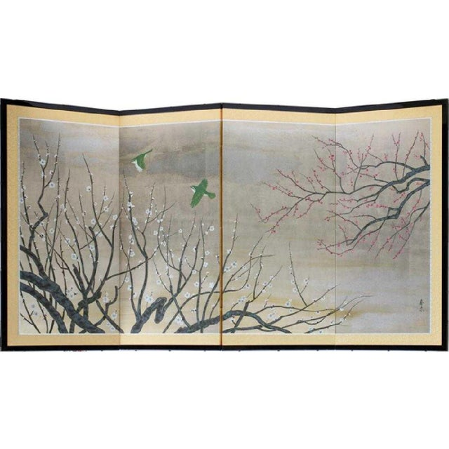 Chinese Painted Silk Cherry Blossom Screen For Sale - Image 10 of 10
