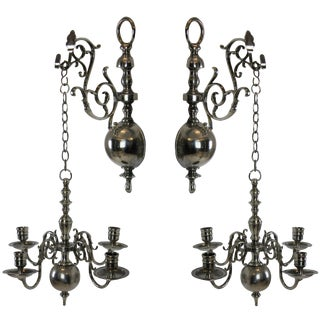 19th Century English Silver Wall Chandelier - a Pair