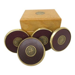 Leather Medallion Mobiloil Brass Coasters in Wood Box - Set of 4