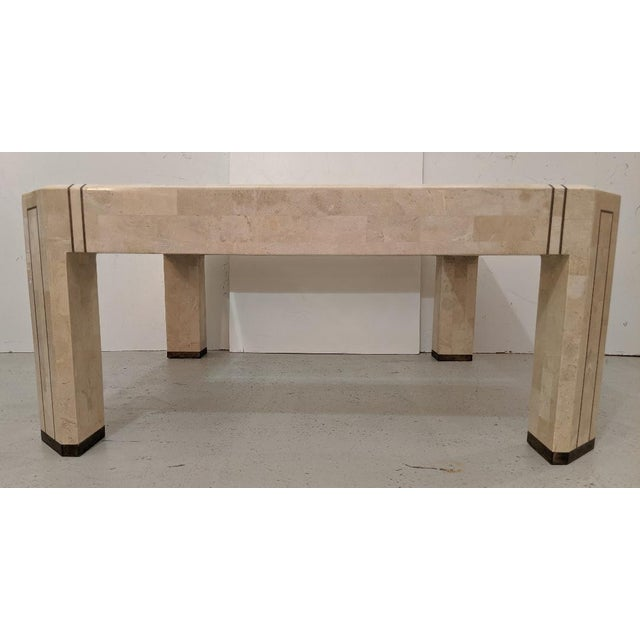 Mid-Century Modern Alexvale Furniture - Tessellate Stone Cocktail Table. W/ Brass Trim, Vintage For Sale - Image 3 of 10