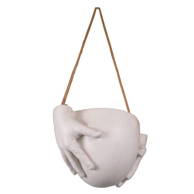"""White 1970s Ceramic """"Hands"""" Hanging Bowl by Richard Etts For Sale - Image 8 of 8"""