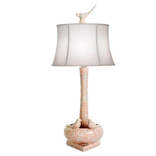 Faux-Marble Bird Table Lamp For Sale