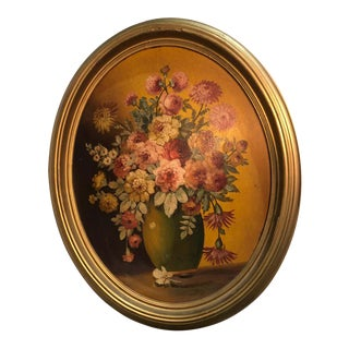 Large Floral Oval Oil on Board Still Life For Sale