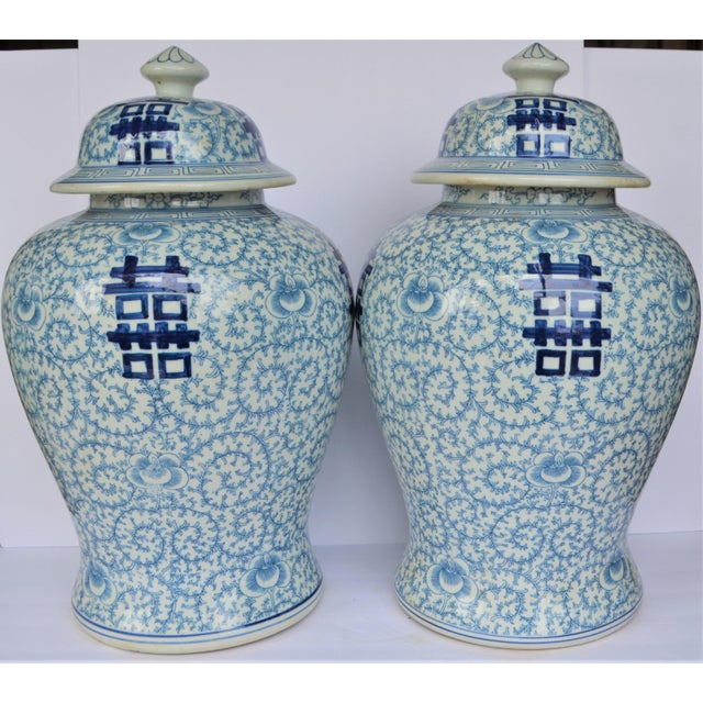 Ceramic Vintage Happiness Ginger Jar Vases - a Pair For Sale - Image 7 of 7