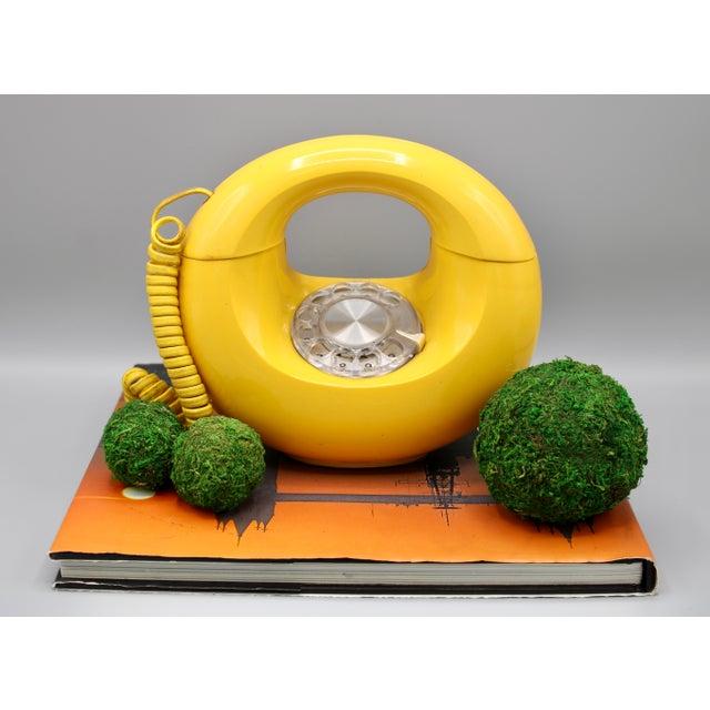 1970s Art Deco Lemon Yellow Rotary Telephone For Sale - Image 12 of 13