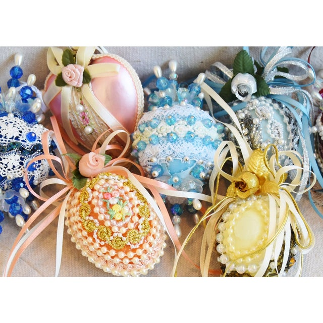 Mid 20th Century Vintage Fancy Beaded Christmas Tree Ornaments - Set of 7 For Sale - Image 5 of 7