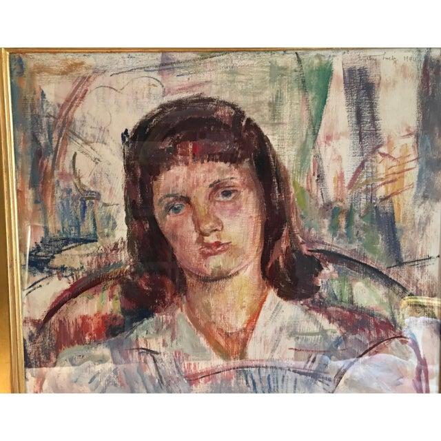 Paint Vintage Modernist Portrait by Dorothy Loeb For Sale - Image 7 of 9