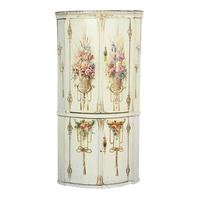 19th Century Swedish Painted Corner Cabinet For Sale
