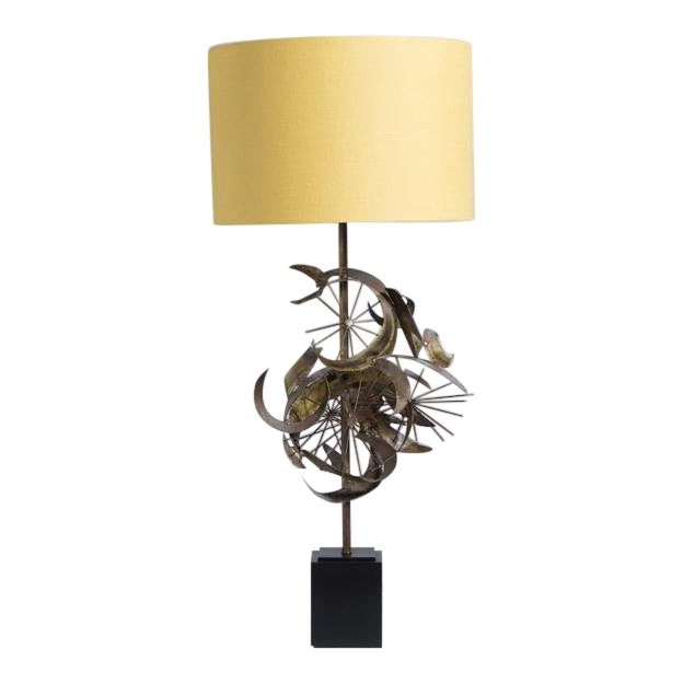 Brass Brutalist Sculptural Table Lamp Attributed to Curtis Jere, 1970s For Sale