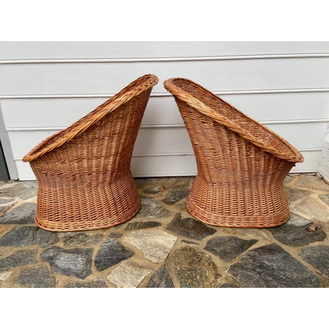 Vintage Boho Chic Wicker Scoop Chairs - a Pair For Sale In Raleigh - Image 6 of 10
