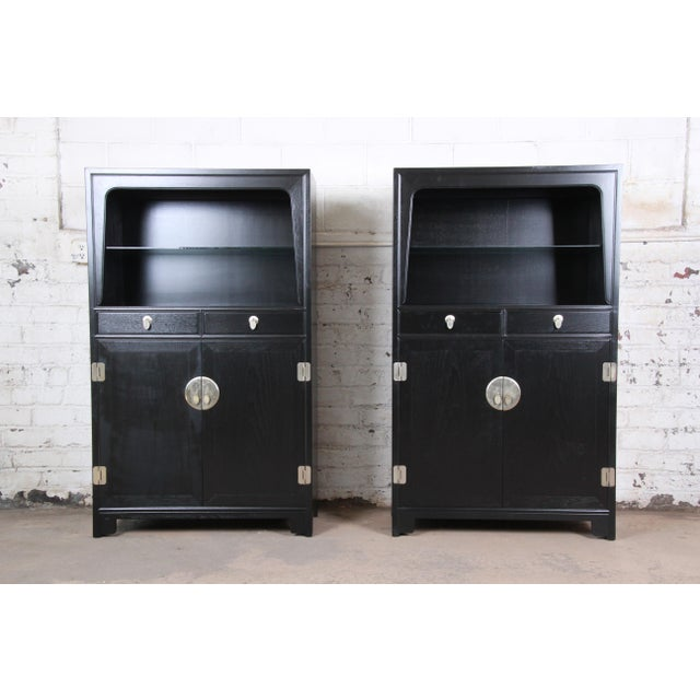 Asian Michael Taylor for Baker Far East Collection Ebonized Chinoiserie Wall Units, Pair For Sale - Image 3 of 13