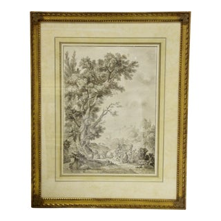 Antique French Pen & Ink Drawing For Sale