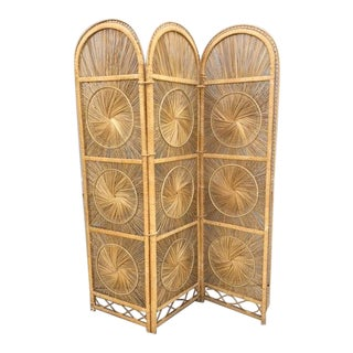 Boho Chic Rattan Tri-Fold Screen For Sale