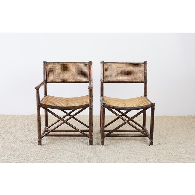 McGuire Set of Eight McGuire Bamboo Rattan Cane Dining Chairs For Sale - Image 4 of 13