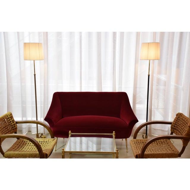 Italian Midcentury Velvet Sofa in the Manner of Ico Parisi, 1950s For Sale - Image 10 of 13