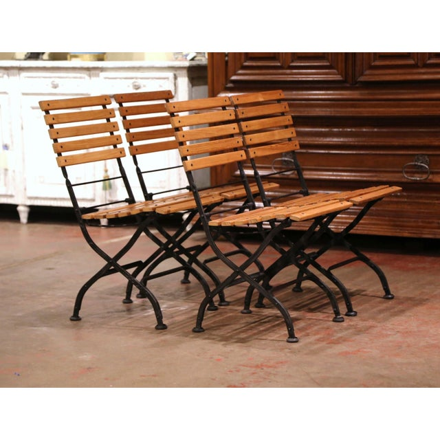 Tan Painted Wrought Iron and Teak Wood Folding Garden Chairs, Set of Four For Sale - Image 8 of 13