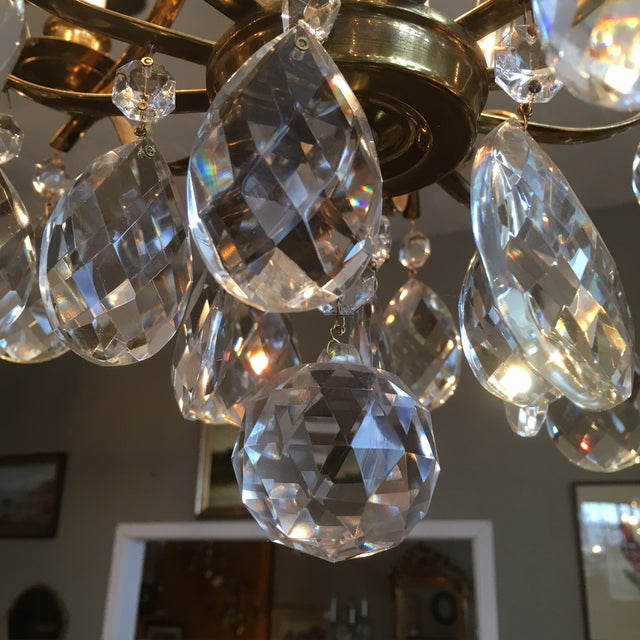 Metal Mid Century Solid Brass Crystal Marie Therese Style French Chandelier 1950s/60s For Sale - Image 7 of 13