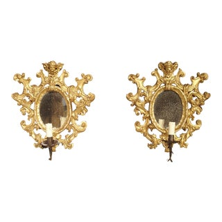 Pair of Antique Giltwood Mirrored Sconces From Italy, Circa 1880 For Sale