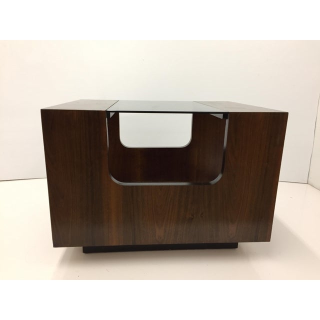 Glass 1970s Lane Smoked Glass Walnut Cubed Side Table For Sale - Image 7 of 7