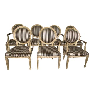 French Louis XV Carved Wood Oval Back Dining Arm Chairs - Set of 7 For Sale