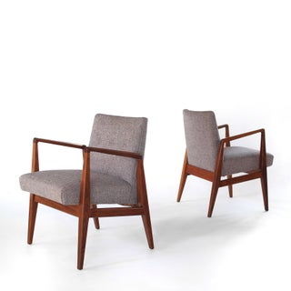 Mid Century Modern Jens Risom Lounge Walnut Amrchairs- a Pair Preview