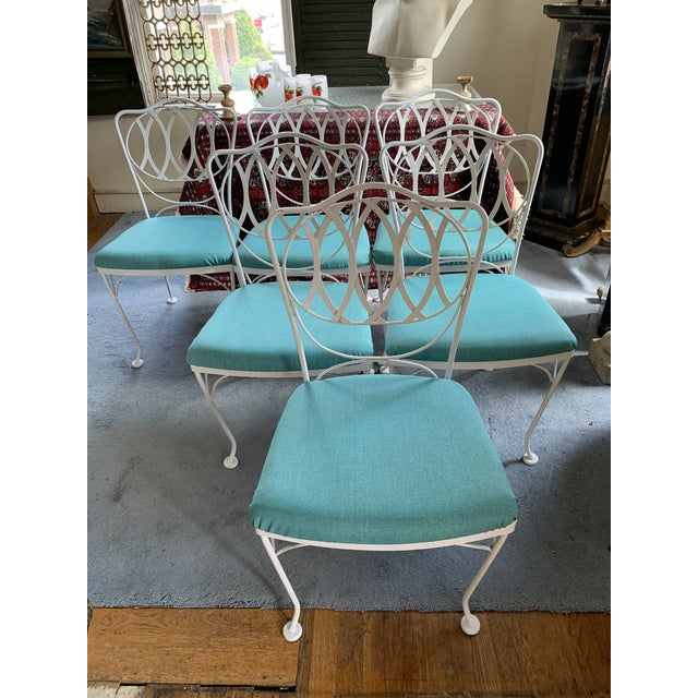 Metal Woodard Quality Iron Patio Dining Chairs With Turquoise Upholstered Seats - Set of 6 For Sale - Image 7 of 7
