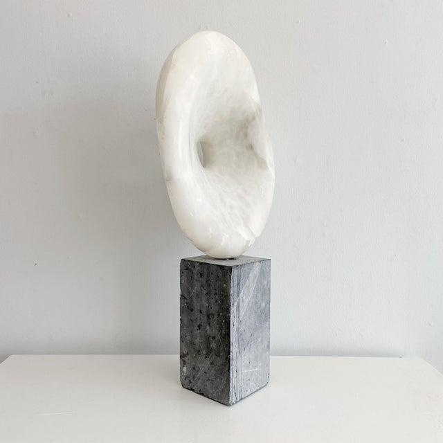 1970s Vintage Freeform Abstract Alabaster Sculpture on Marble Base Circa 1973 Signed O'Day For Sale - Image 5 of 10