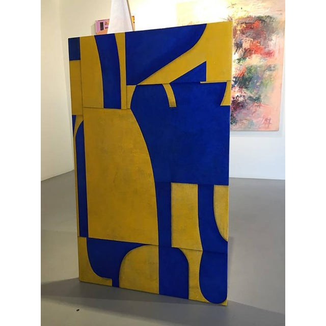 """Cecil Touchon Cecil Touchon """"pdp #653"""" Abstract Blue & Yellow Painting on Panel For Sale - Image 4 of 6"""