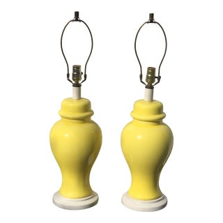 Mid-Century Yellow and White Ginger Jar Table Lamps - a Pair For Sale