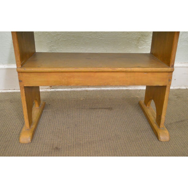 Antique Primitive Yellow Painted Pine Hutch Table Bench For Sale In Philadelphia - Image 6 of 11